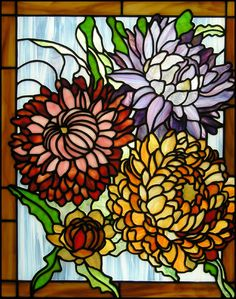 Chrysanthemums Stained Glass Panel. $350.00, via Etsy.