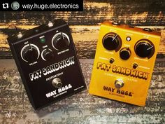 Repost @way.huge.electronics:  Way Huge Fat Sandwich prototype from 1998 and production unit. #wayhuge #wayhugeelectronics #wayhugepedals #jimdunlop #jimdunlopusa #dunlop #effectpedals #guitarpedals #pedals #tone #guitartone #effectpedal #stompbox #effect #stompboxes #guitar #electricguitar  #distortion #fatsandwich @jimdunlopusa