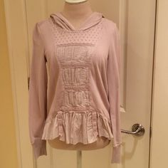 Anthropologie byELOISE hoodie Blush color pullover hoodie with tucks and lace accents. Super soft french terry. Anthropologie Tops Sweatshirts & Hoodies