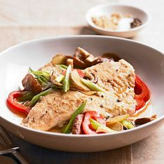 Steamed Cod with Gingery Mushrooms - Ready in less than 30 minutes, this gently cooked, ginger-flavored fish combines with shiitake mushrooms and red sweet pepper to create a colorful dinner that's also rich in antioxidants.