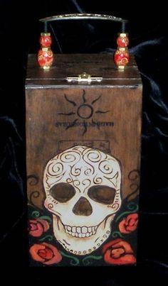 Magical Skull Cigar Box Purse by Artist April