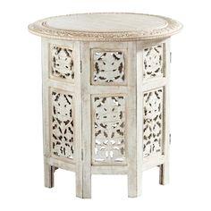 Tavolino da salotto scolpito in legno sbiancato L 46 cm SARANYA
