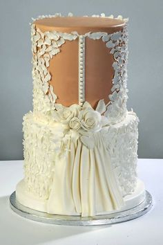 Why do we like wedding dress cakes? Check spectacular cake designs out here. Choose wedding dress cake for bridal shower from our collection! Beautiful Wedding Cakes, Gorgeous Cakes, Pretty Cakes, Wedding Cakes With Cupcakes, Cupcake Cakes, Wedding Dress Cake, Wedding Dresses, Lace Wedding, Purple Wedding