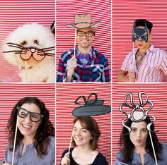 Tutorial and templates for DIY photobooth props. @Frances Dea I like the Batman one, but they have others, too. Supplies: color printer, foam core, spray adhesive, Exacto knife, tape, and dowels.