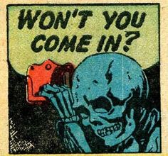 Replaces and cancels the previous Johnnythehorse. Skeleton Won't You Come In Horror Dark Retro Vintage Comic Book Pop Art Illustration Comics Vintage, Old Comics, Vintage Comic Books, Comic Books Art, Comic Art, Creepy Comics, Horror Comics, Horror Art, Vintage Pop Art