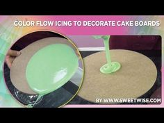 Color Flow Icing to Decorate Cake Boards by www.SweetWise.com - YouTube