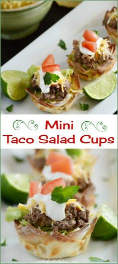 Mini Taco Salad Cups Mini taco salad cups are made with wonton wrappers and baked in a muffin tin. Add some taco meat, lettuce and toppings for an easy appetizer or dinner. Perfect for Cinco de Mayo! Meat Appetizers, Easy Appetizer Recipes, Appetizers For Party, Wan Tan, Taco Salat, Muffin Tin Recipes, Muffin Tins, Mini Tacos, Salsa