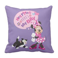 "Minnie | Helping Makes My Day Throw Pillow -  Girls can do anything! This Minnie Helpers graphic features Minnie in this fun ""Helping Makes my Day"" design.  ... #custom #Disney Themed #gift #mojo  throwpillow design by #disney - #mojo  #throwpillow #minniemouse #minniehappyhelpers #disney #toddlergirls #kids #children #cute #pink #hearts #cat #flowers"