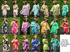 Set of 12 Floral Robes, Satin Bridesmaid robes, Bridesmaid gifts, Bridesmaid kimono robes, Bridesmaid Gift Ideas by noviame on Etsy https://www.etsy.com/listing/224871994/set-of-12-floral-robes-satin-bridesmaid