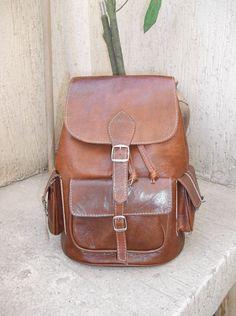 Moroccan Leather Backpack Rucksack back bag soulder vintage purse travel bag shoulder women men bag. $69.99, via Etsy.