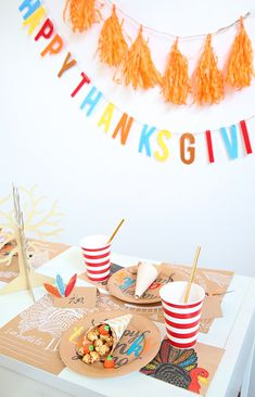 Kids Thanksgiving Table Ideas - decorate it easily with paper like my DIY cornucopia! Join Kim Byers at The Celebration Shoppe for the FREE printables and lots of bright fun ideas! Thanksgiving Tree, Thanksgiving Traditions, Thanksgiving Table Settings, Thanksgiving Parties, Thanksgiving Activities, Thanksgiving Decorations, Thanksgiving Recipes, Cornucopia Craft, Fall Crafts