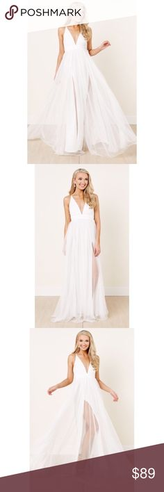 New S white tulle slit Maxi Dress - bride prom PRICE FIRM. I purchased this for myself from a boutique last year to wear for one of my wedding events but honestly it just doesn't look good on me and I've ordered way too much Dresses Maxi