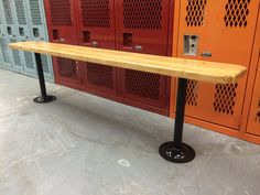Vintage Maple Butcher Block Gym Locker Bench  by Maidendenmark, $295.00