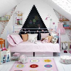 attic nursery, love the floor
