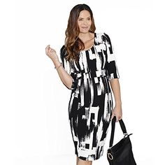 0284343a8a459 Angel Maternity Women's Busy Mommy Half Sleeve Nursing Dress In TeX-ture  Print X-S Black/ White