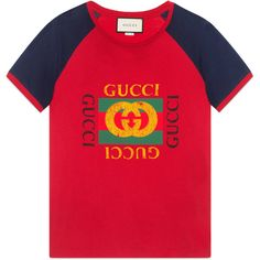 Gucci Print Cotton T-Shirt (€420) ❤ liked on Polyvore featuring men's fashion, men's clothing, men's shirts, men's t-shirts, mens retro shirts, mens patterned shirts, mens blue shirt, mens red shirt and mens cotton t shirts