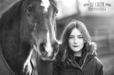N. Lalor Photography: Equestrian lifestyle portrait of young girl, in black & white