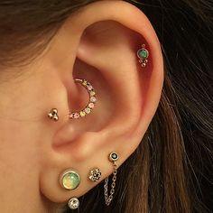 @venusbymariatash rose gold opal hoop in daith, tragus, helix piercing