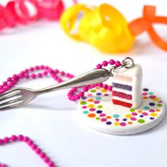 Food jewelry polymer clay cake slice necklace by StudioPasat
