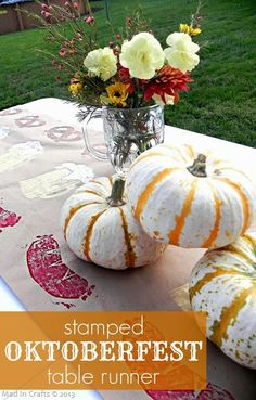 Dress the Table - Forget the fancy tablecloth — hand-stamping a paper table runner with German sausages, beer, and pretzels gives your party a casual and handmade touch. 8 Easy Steps to Hosting Your Own Oktoberfest Oktoberfest Party, Oktoberfest Outfit, Oktoberfest Hairstyle, Oktoberfest Decorations, German Oktoberfest, Oktoberfest Halloween, Entree Halloween, Halloween Appetizers, Halloween Food For Party