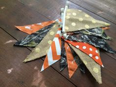 Hunter Banner Deer Head Bunting Camo Stag Pennant Flags, Home Baby Shower Nursery Decor Photo Prop Cabin Mountain Outdoor Orange Gold Burlap by AmpersandGO on Etsy https://www.etsy.com/listing/468973639/hunter-banner-deer-head-bunting-camo