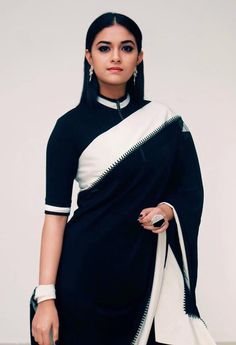 """Explore the new collection of Beautiful Indian Women in Sarees Looking So Gorgeous"""". These are the most hottest Indian women looking beautiful in unique saree designs. Black Blouse Designs, Saree Blouse Designs, Blouse Patterns, Indian Dresses, Indian Outfits, Mode Outfits, Trendy Outfits, Black And White Saree, Black White"""