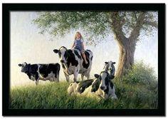 Girls Club Riding Cow Robert Duncan Art Print Framed