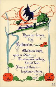 Witch Rides Broom to Summon Goblins RARE Nash Halloween H 9 Antique Postcard Halloween Logo, Retro Halloween, Vintage Halloween Cards, Halloween Poems, Halloween Wishes, Halloween Prints, Vintage Holiday, Holidays Halloween, Happy Halloween