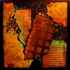 """URBAN VIBE"" mixed media rusted metal painting by Carol Nelson"