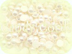 200 - 4mm Ivory Acrylic Flatback Pearls Embellishment Scrapbooking Nail Art 3.6g
