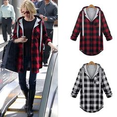 Flannel Hoodie Top Coat Jacket Women Plaid Checks Long Sleeve Button Outwear New #Unbranded #BasicCoat