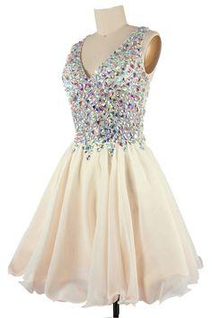 2016 Rhinestone Homecoming dresses, Champagne Homecoming dresses, Cute Prom dresses, sexy Open Back Party dresses, Custom prom dresses