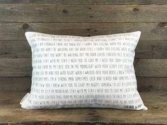 Song Lyric Pillow, Custom Pillow, 2nd Anniversary Cotton Gift, Wedding Gift, Throw Pillow, Gift for Friend, Dorm Decor, Housewarming Gift