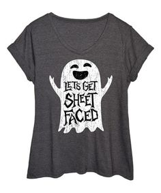 This Heather Charcoal 'Let's Get Sheet Faced' Tee - Plus is perfect! #zulilyfinds