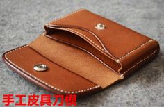 Leather Wallet Pattern, Handmade Leather Wallet, Sewing Leather, Leather Gifts, Diy Leather Projects, Leather Diy Crafts, Leather Craft, Leather Workshop, Coin Bag