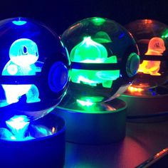 Light up your room the only way a Pokemon Master should with these 3D etched crystal Pokeballs. Each one containsa Pokemon trapped inside that glows brightly when you switch onthe LED light base. Guaranteed to impress any Pokemon fan!