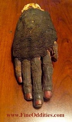 This is an original mummified hand. Henna's origin's can be traced back to Ancient Egypt. Egyptians would actually paint their nails and hands with Henna to get a red dye. The first form of nail polish! Henna—Hand and nail dye, from a shrub or tree whose leaves gave a red-orange dye.