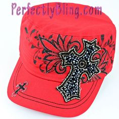 Rhinestone Bling Cap with Cross RED $16