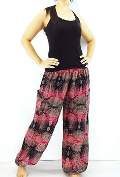 ST82 Thai Women Clothing Comfy Rayon Bohemian Trousers Hippie Baggy Genie Boho Pants Flower Black Pink Black Harem Pants, Harem Trousers, Trousers Women, Gypsy Pants, Boho Pants, Maxi Pants, Aladdin Pants, Comfy Pants, Skinny Fit
