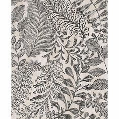 A versatile botanical wallpaper. This cream and black design has a hand painted look with thick lines. The background has a texture print for added dimension.