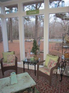 A screened in porch.