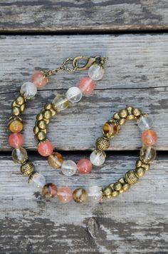 Handmade semi-precious gemstones and brass necklace - lobster clasp