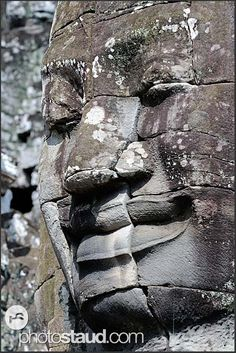 Smiling giant stone face of Lokeshvara, Bayon Temple of Angkor Thom, Cambodia Yesterday And Today, Angkor, Cambodia, Sculpture Art, Vietnam, Temple, Travelling, Buddha, Art Photography