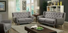 Carin Mid-Century Sofa, Love Seat & Chair