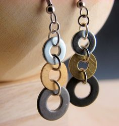 Earrings made from washers -- hardware store!