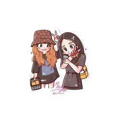 Best Friend Drawings, Girly Drawings, Kawaii Drawings, Cartoon Drawings, Anime Best Friends, Friend Anime, Friend Cartoon, Girl Cartoon, Cartoon Art
