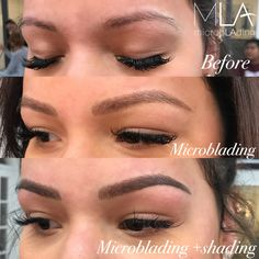 Combo brows looking SO fine!Look at the amazing transformation between this clients brows before procedure, then brows with microblading only, and lastly the combination of microblading+shading #microblading #pmu #combobrows #microbladingplusshading #browsonpoint