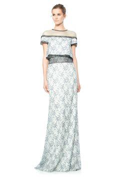 Floral Chiffon Lace Crop Top Gown | Tadashi Shoji
