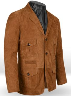 Soft Caramel Brown Suede Leather Blazer - : StudioSuits: Made To Measure Custom Suits, Customize Suits, Jackets and Trousers Suede Blazer, Suede Jacket, Vest Jacket, Leather Blazer, Suede Leather, Brown Chinos, Blazer Fashion, Mens Fashion, Caramel Brown