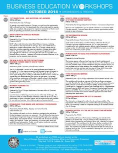 Free #smallbiz workshops at Chicago's City Hall every Wednesday and Friday. http://www.cityofchicago.org/city/en/depts/bacp/sbc/business_educationworkshopcalendar.html